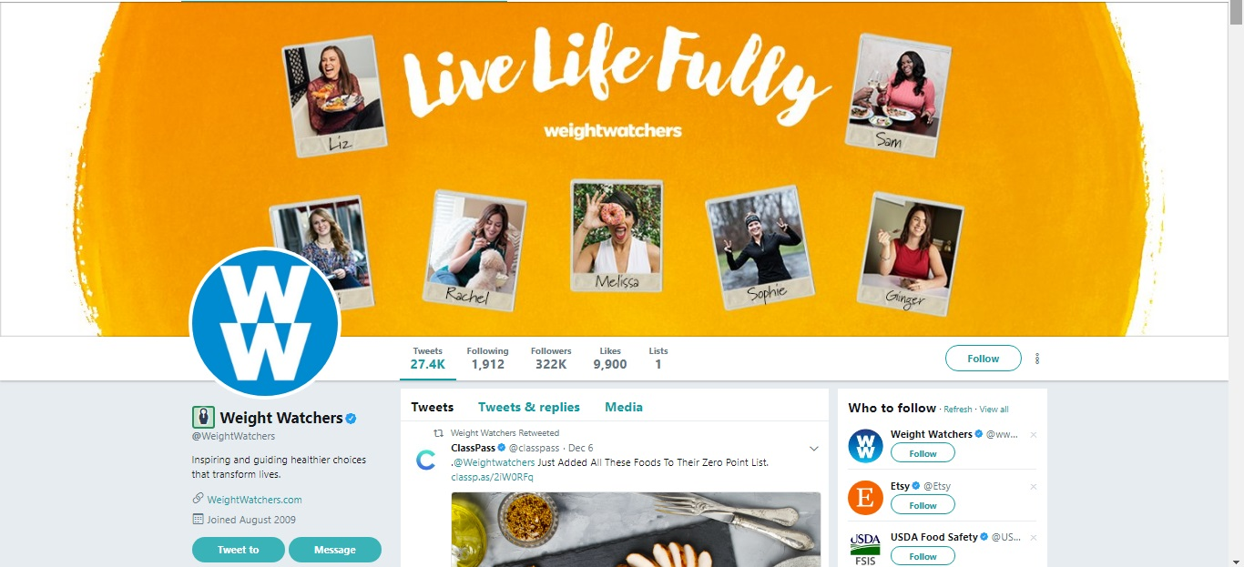 Weight Watchers Twitter Profile