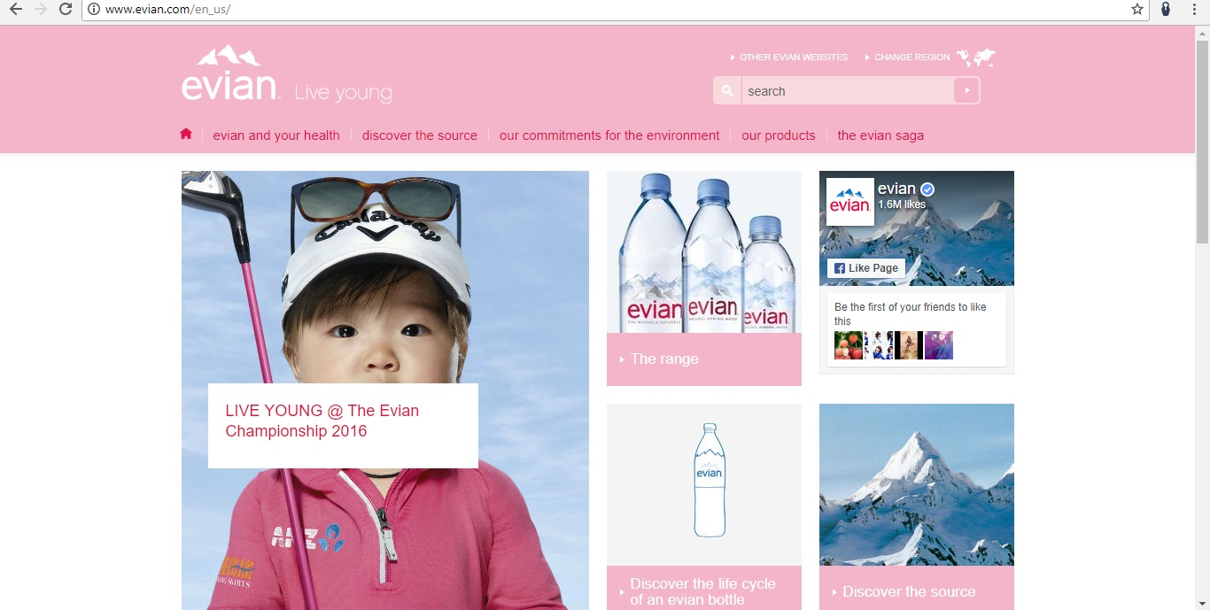Evian Homepage