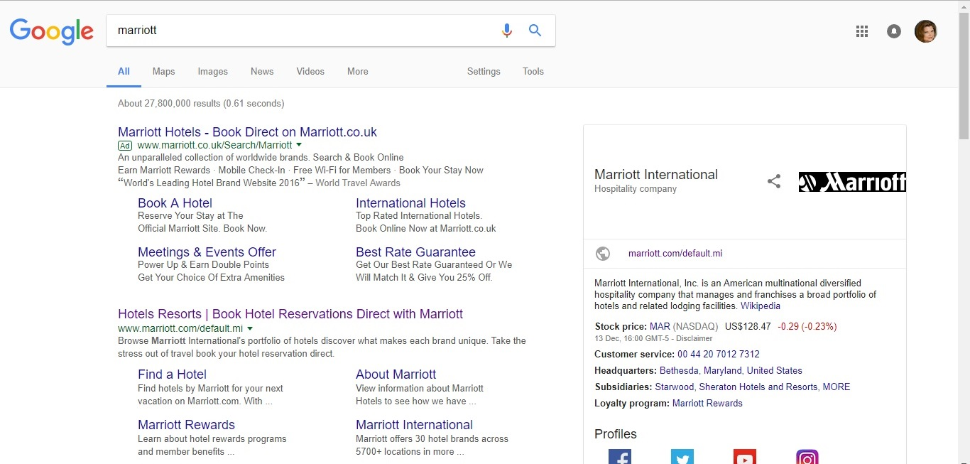Marriot Google Search Results