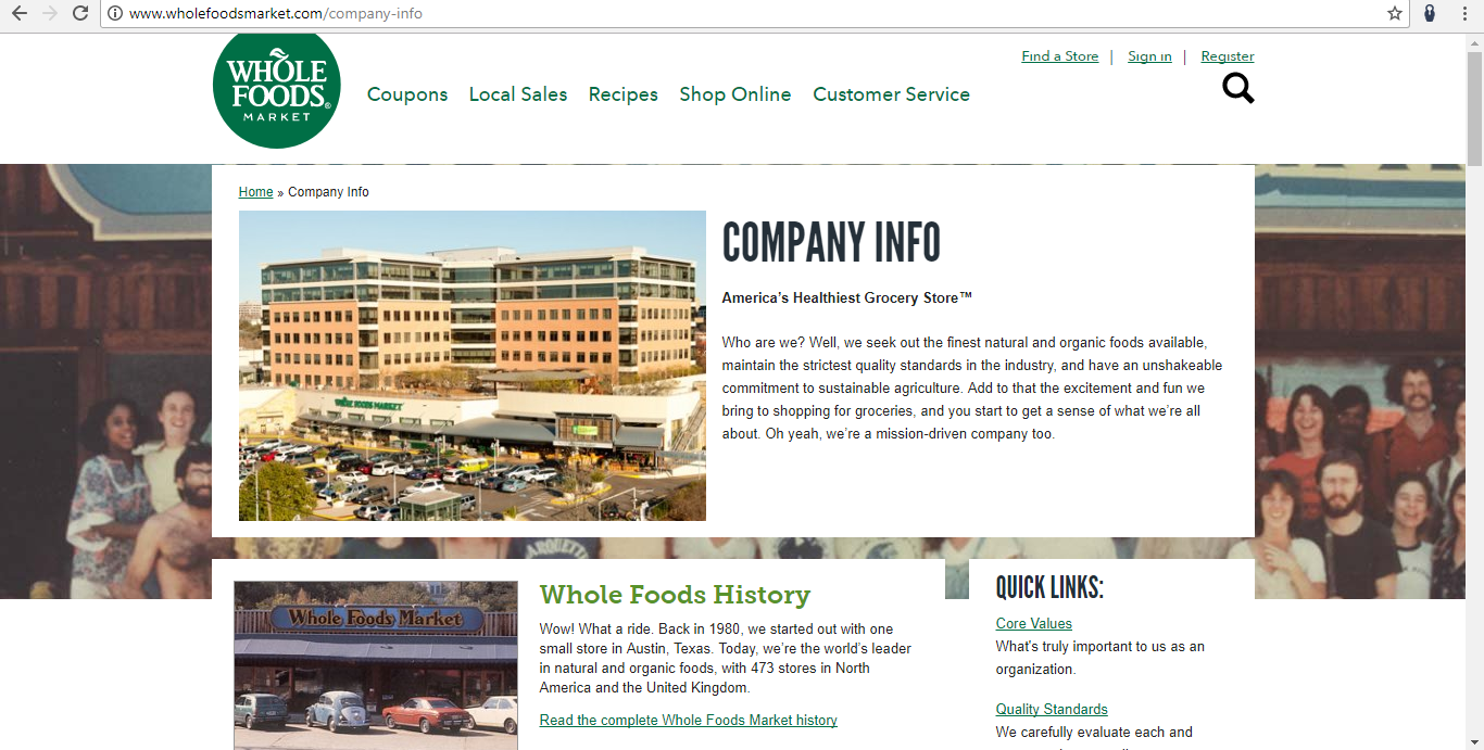 Whole Foods Marketing About Page